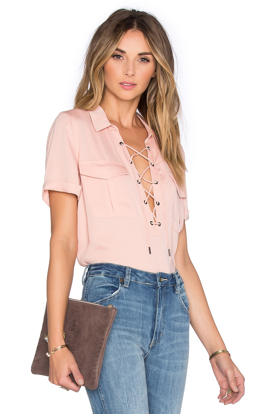 L'Academie The Safari Blouse in Blush