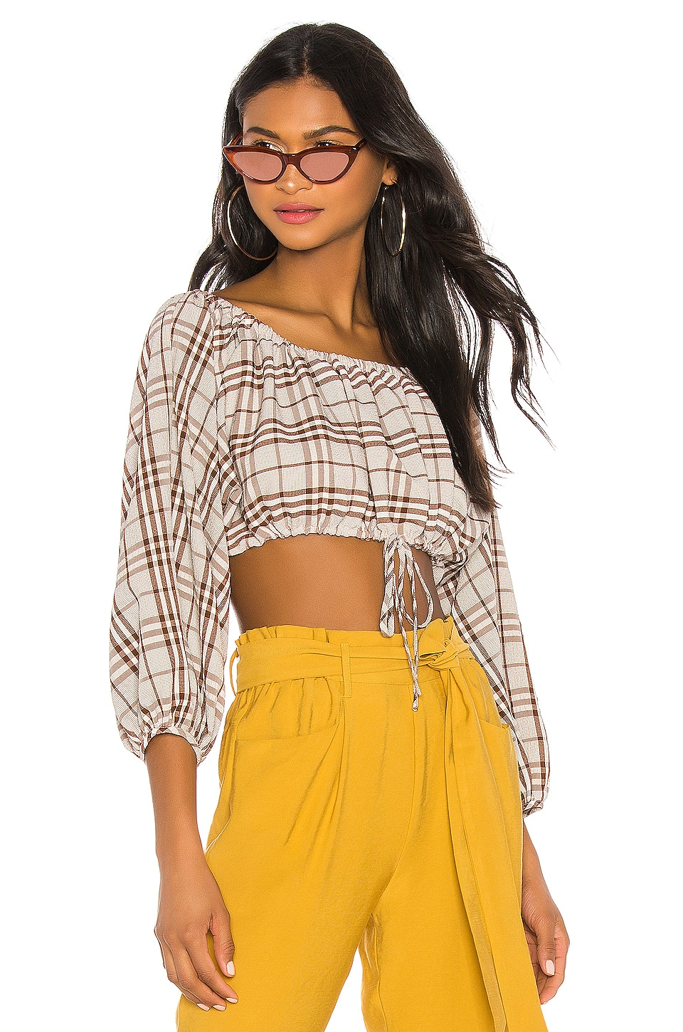 L'Academie The Jules Blouse in Brown Plaid