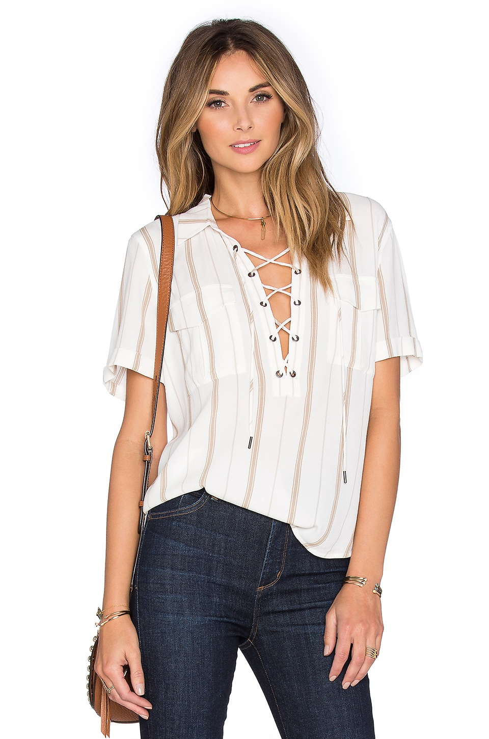 L'Academie The Safari Blouse in Stripe