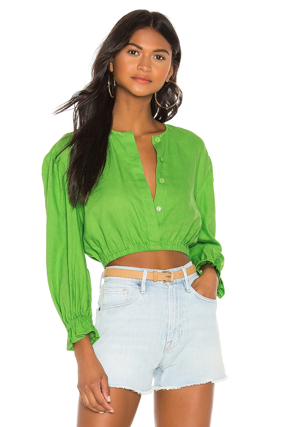 L'Academie The Vera Blouse in Lime