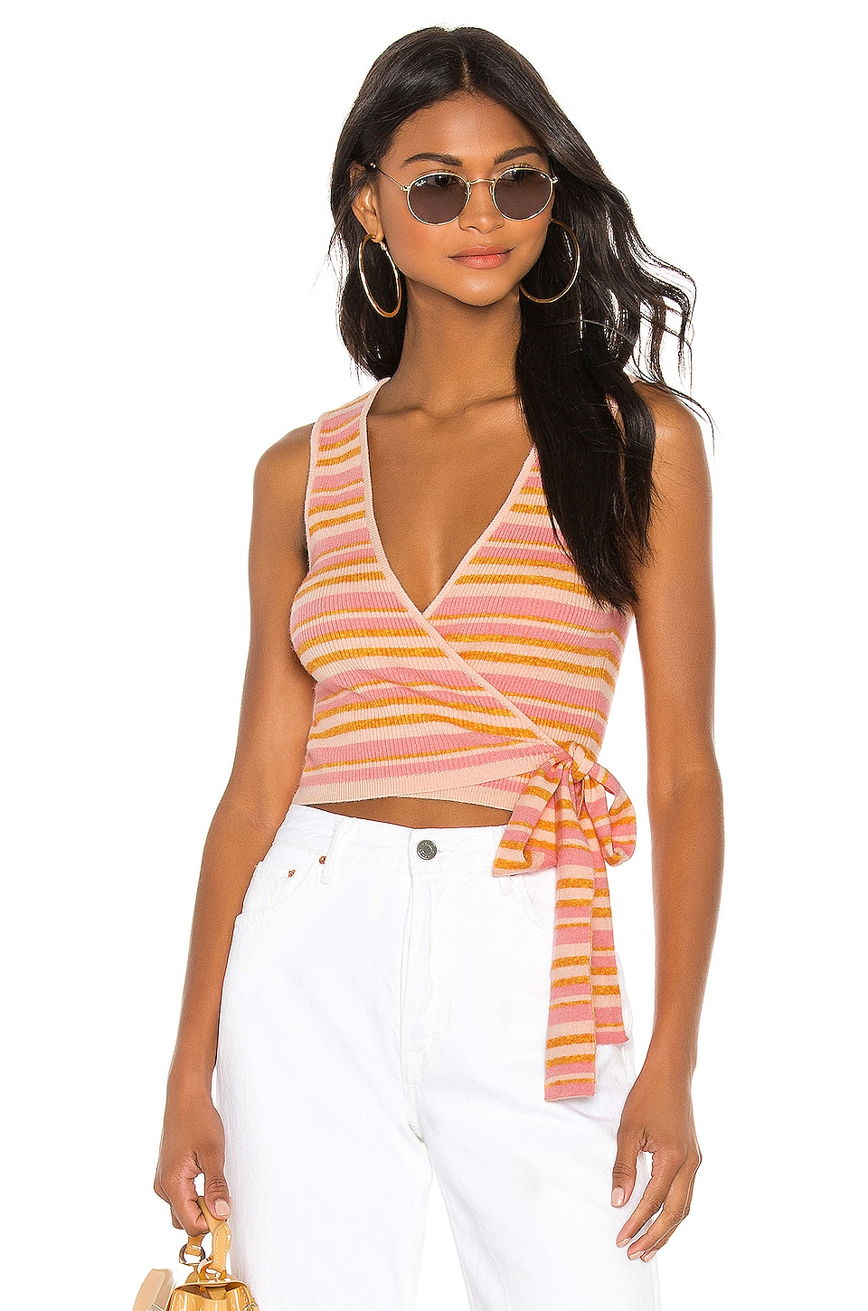 L'Academie Gina Wrap in Pink Lemon Stripe