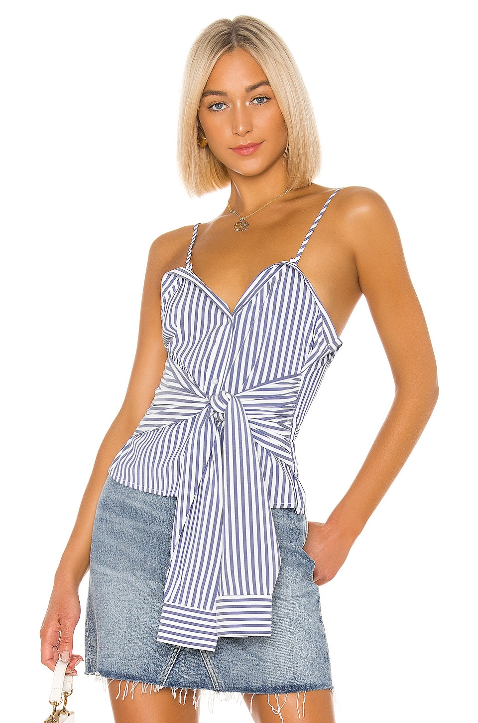 L'Academie The Evy Top in Blue & White