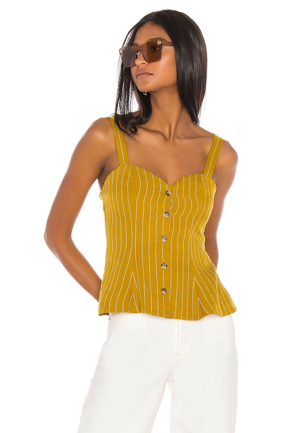 L'Academie The Brasilia Top in Mustard & White