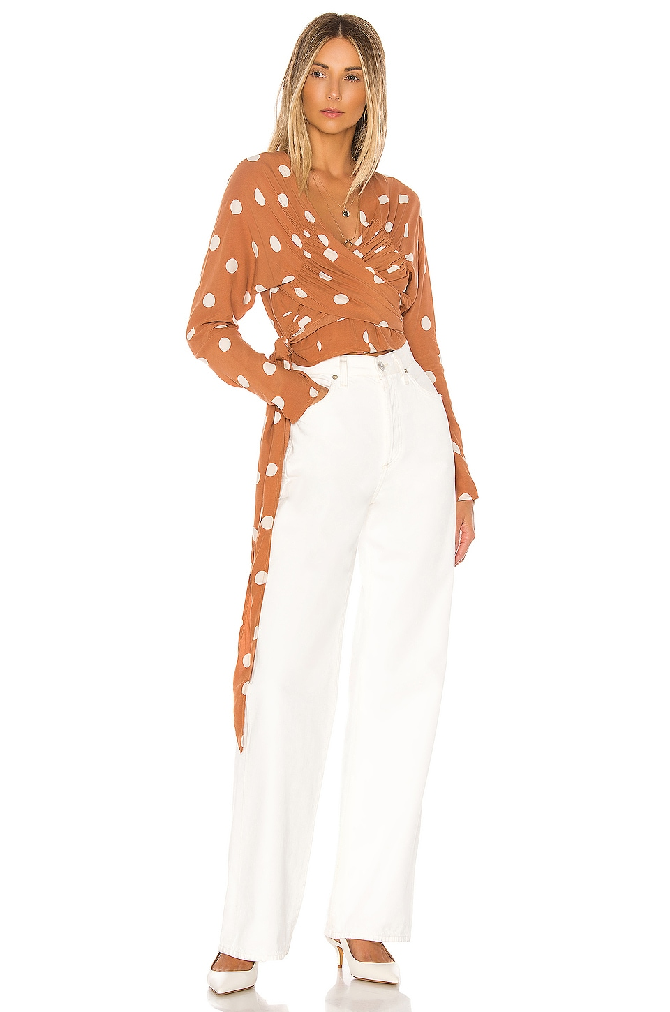 L'Academie The Lydie Top in Rust & Ivory Dot