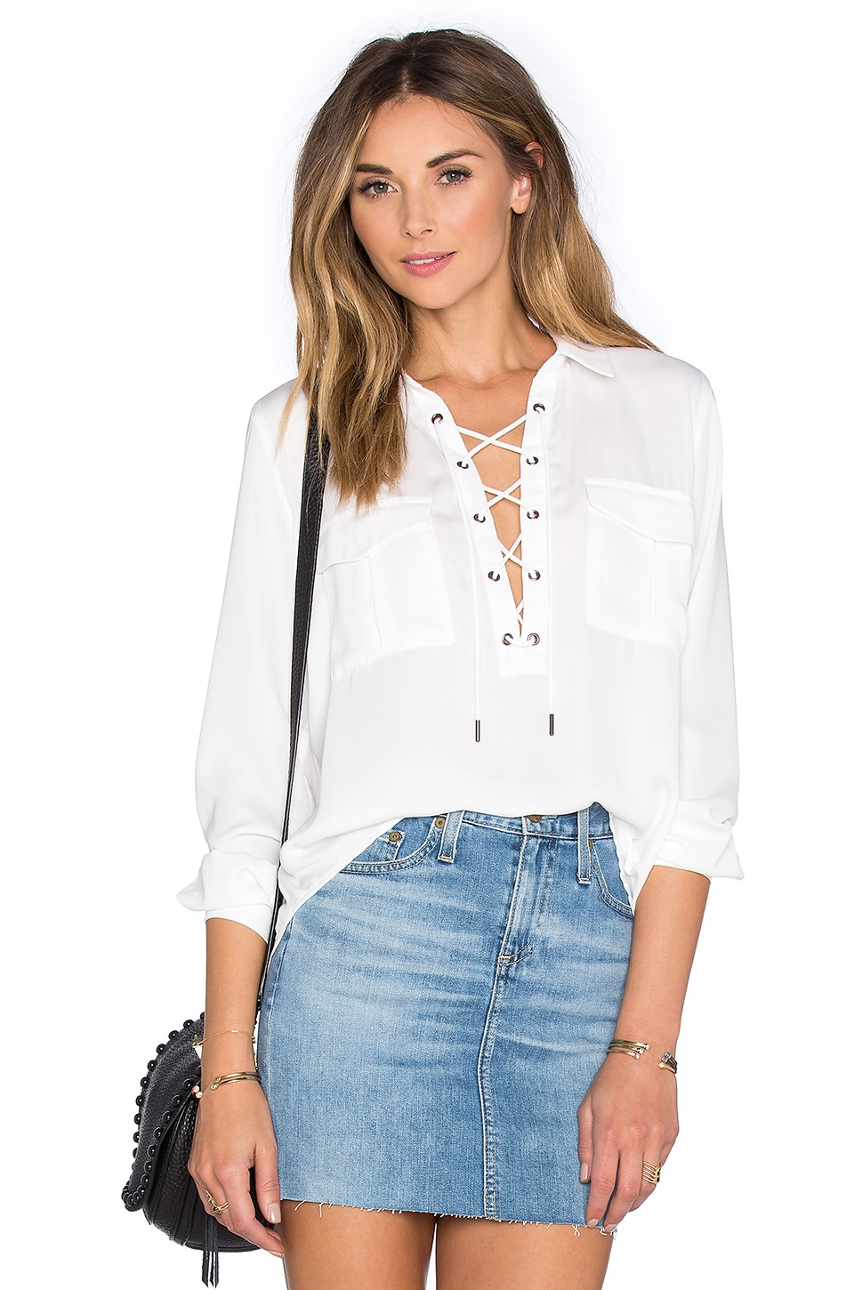 L'Academie x REVOLVE The Safari Blouse in White