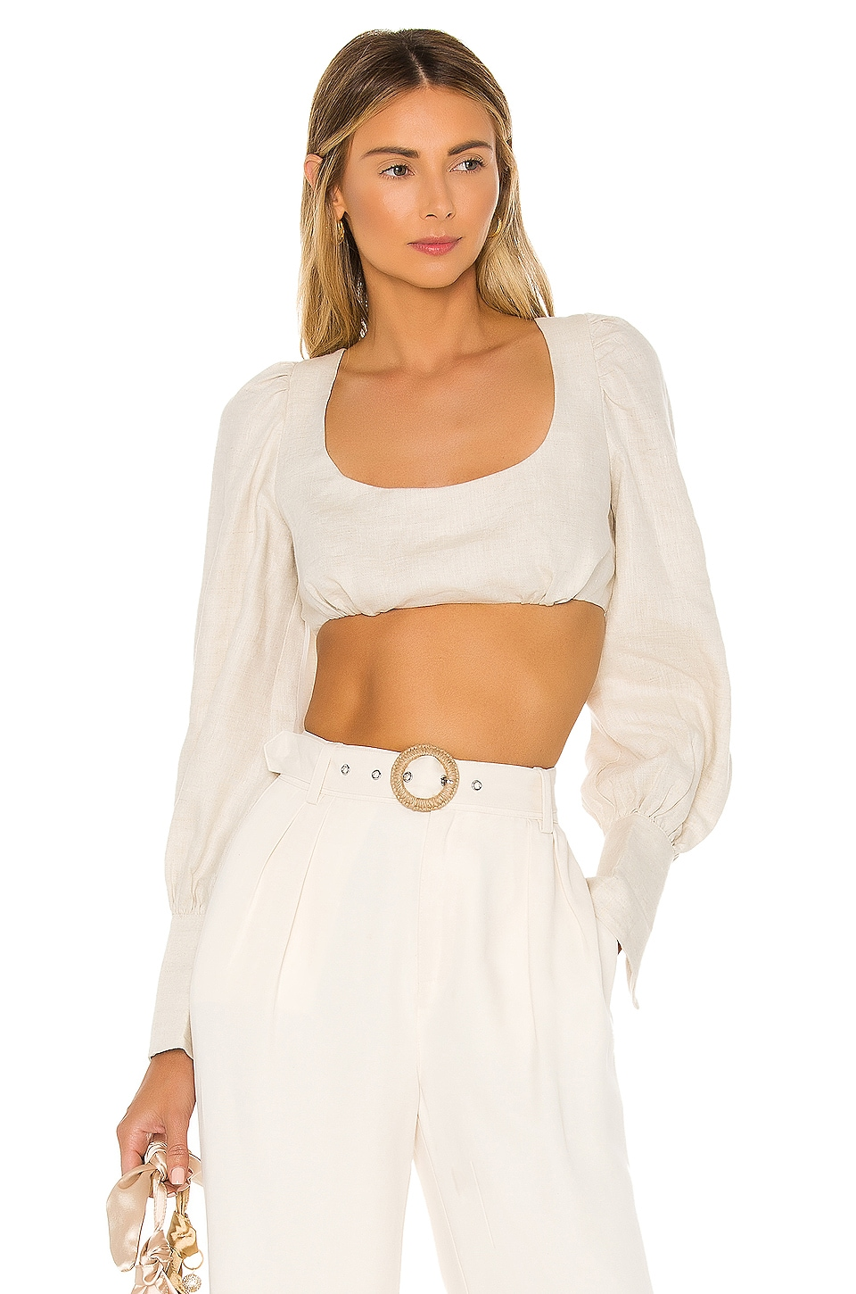 L'Academie The Therese Crop Top in Beige