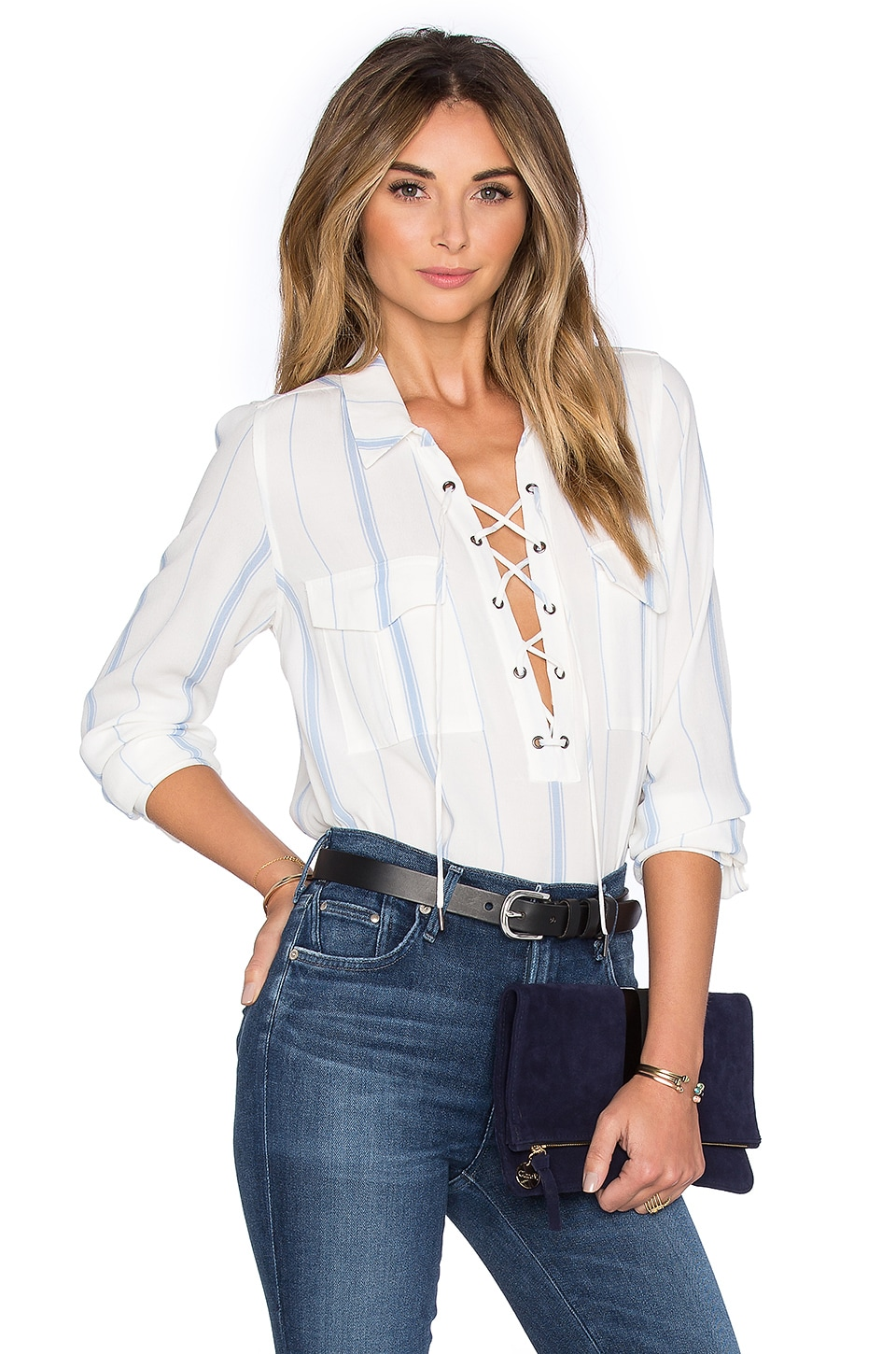 L'Academie x REVOLVE The Safari Blouse in Blue Stripe