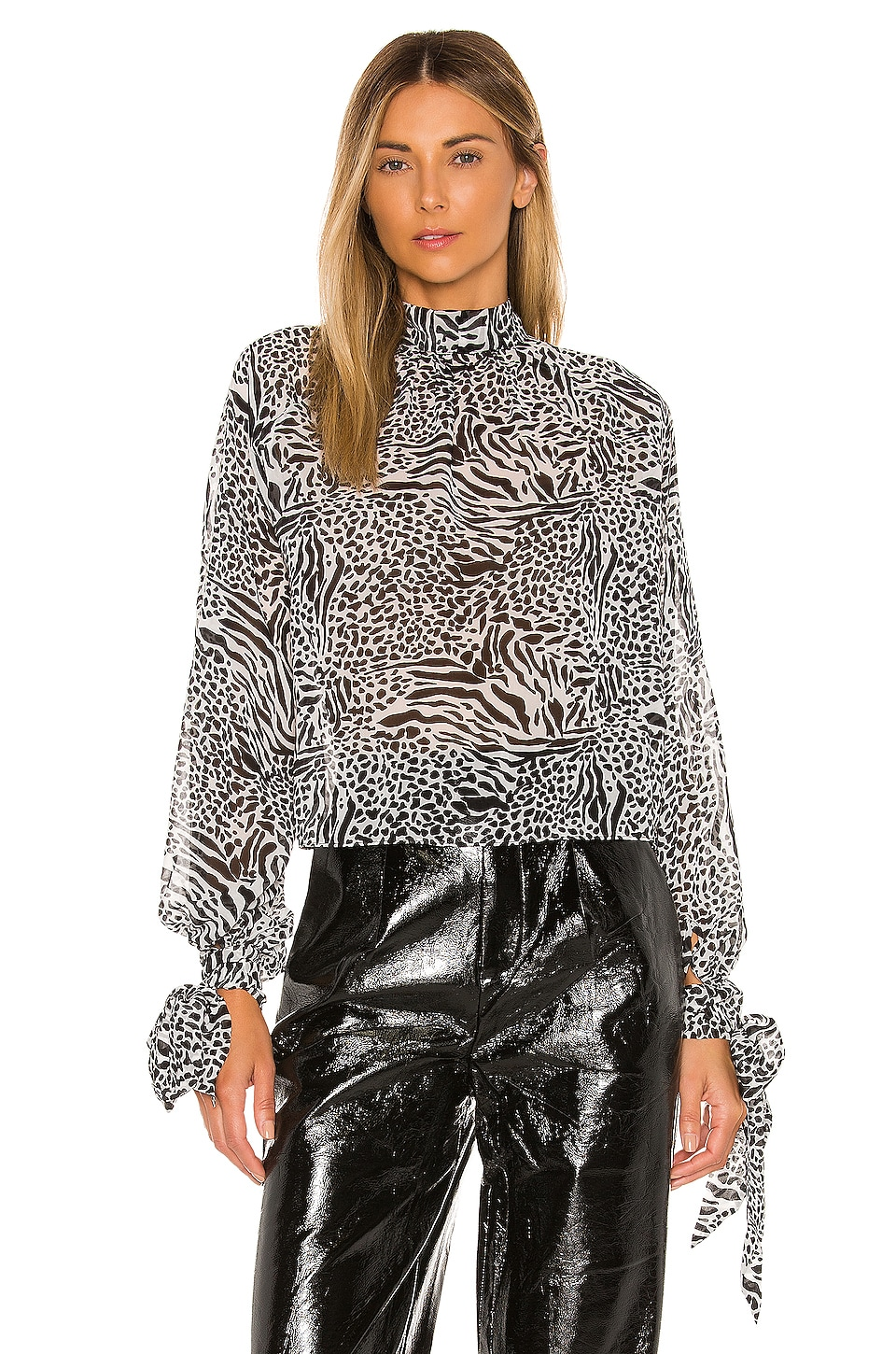 L'Academie The Aimee Top in Black Mixed Animal