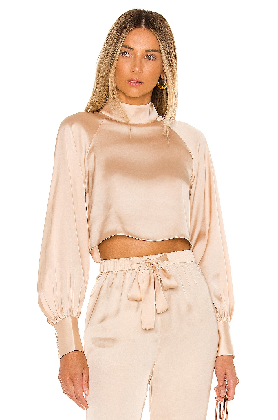 L'Academie The Joli Crop Top in Ivory Cream
