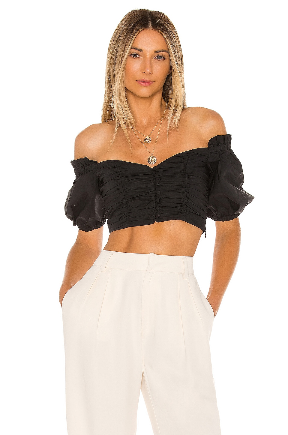 L'Academie The Marjori Crop Top in Black