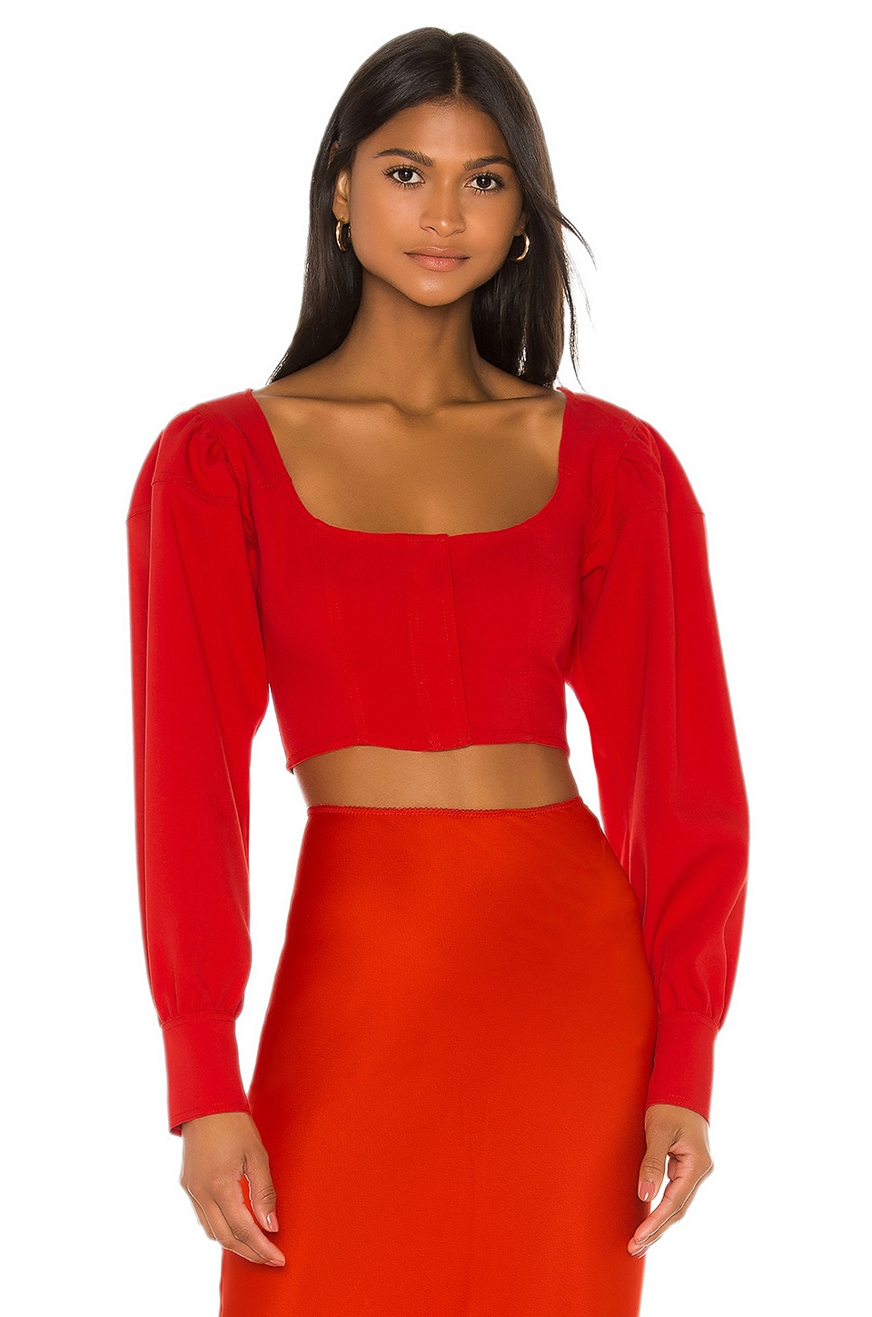L'Academie The Roux Crop Top in Scarlet Red
