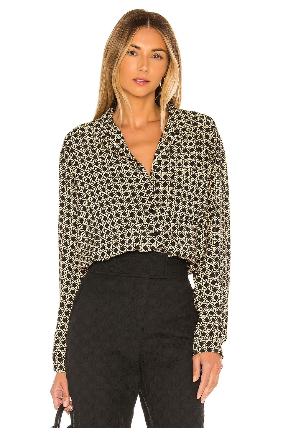 L'Academie The Lilou Top en Black Basket Weave