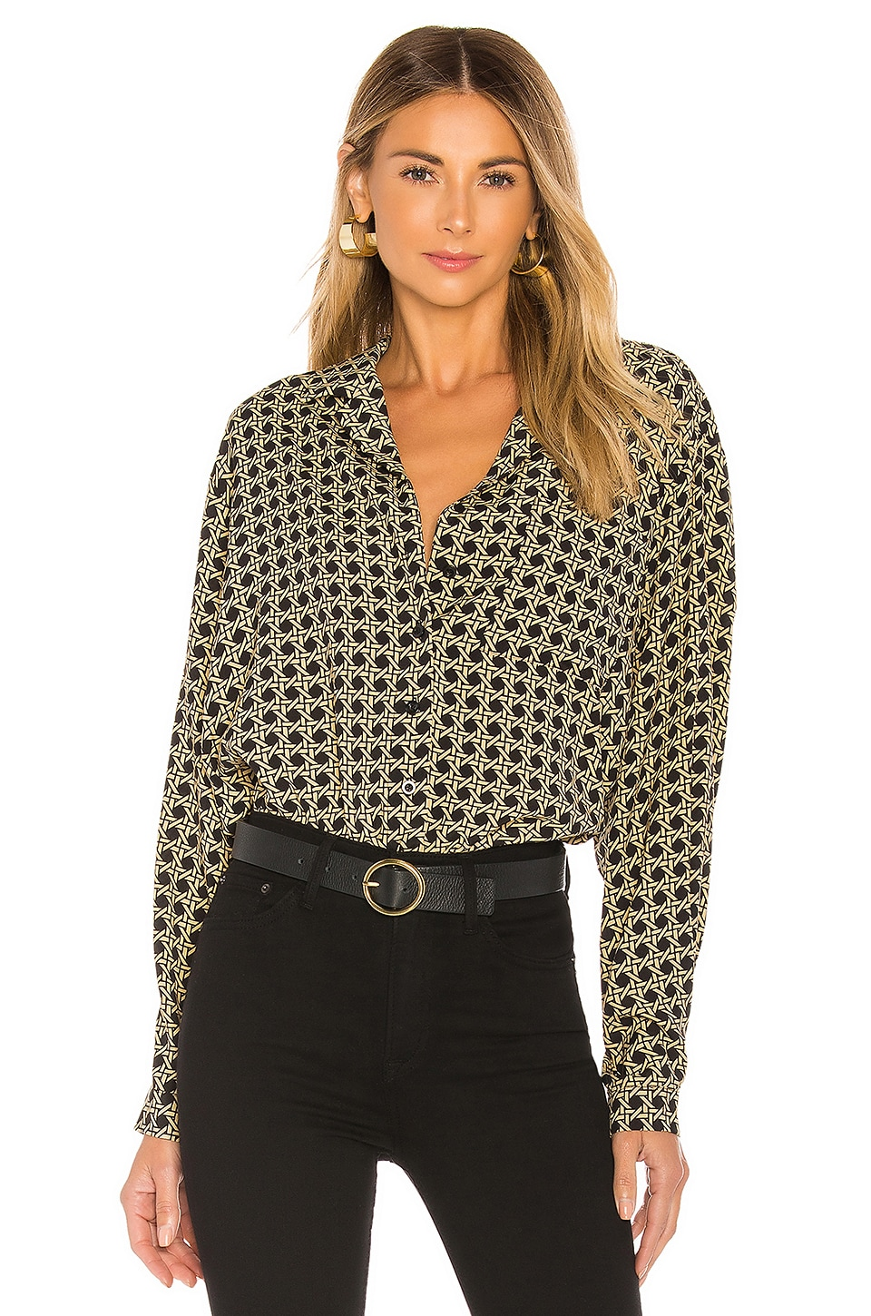 L'Academie The Lilou Top in Black Basket Weave