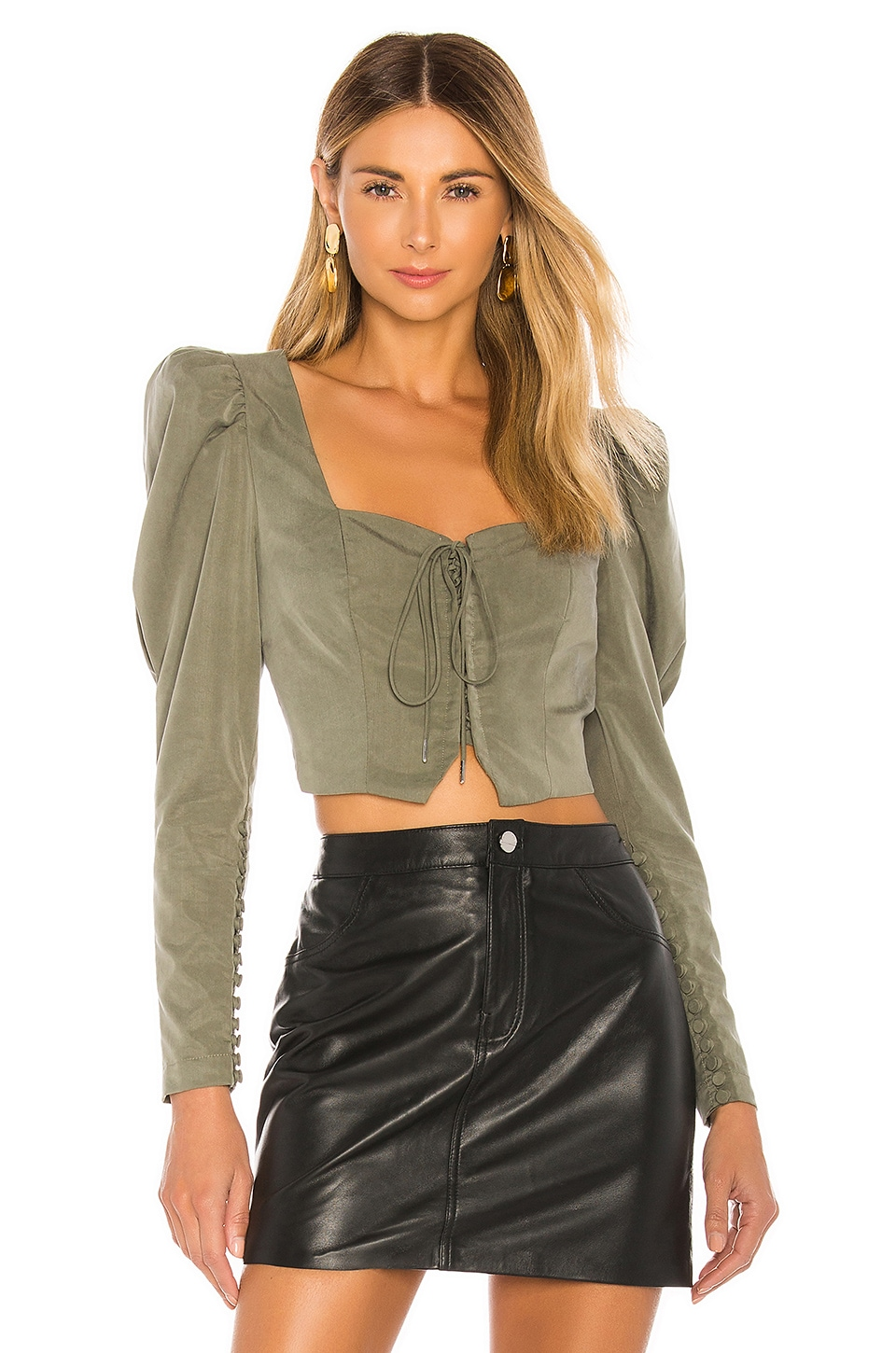 L'Academie The Duffy Blouse in Olive Green