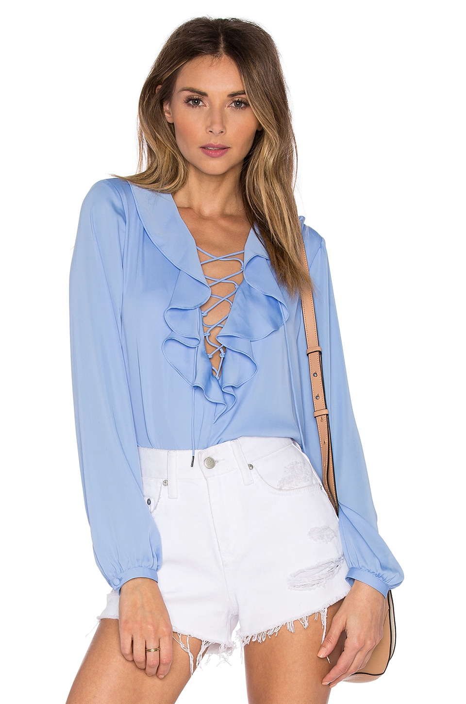 L'Academie The Ruffle Boho Blouse in Marina