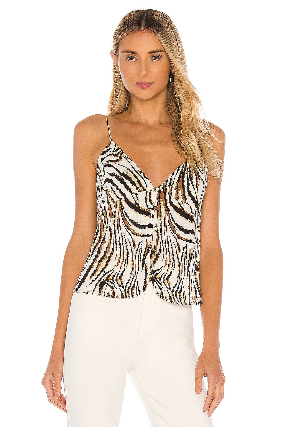 L'Academie The Pierette Cami in White Tiger