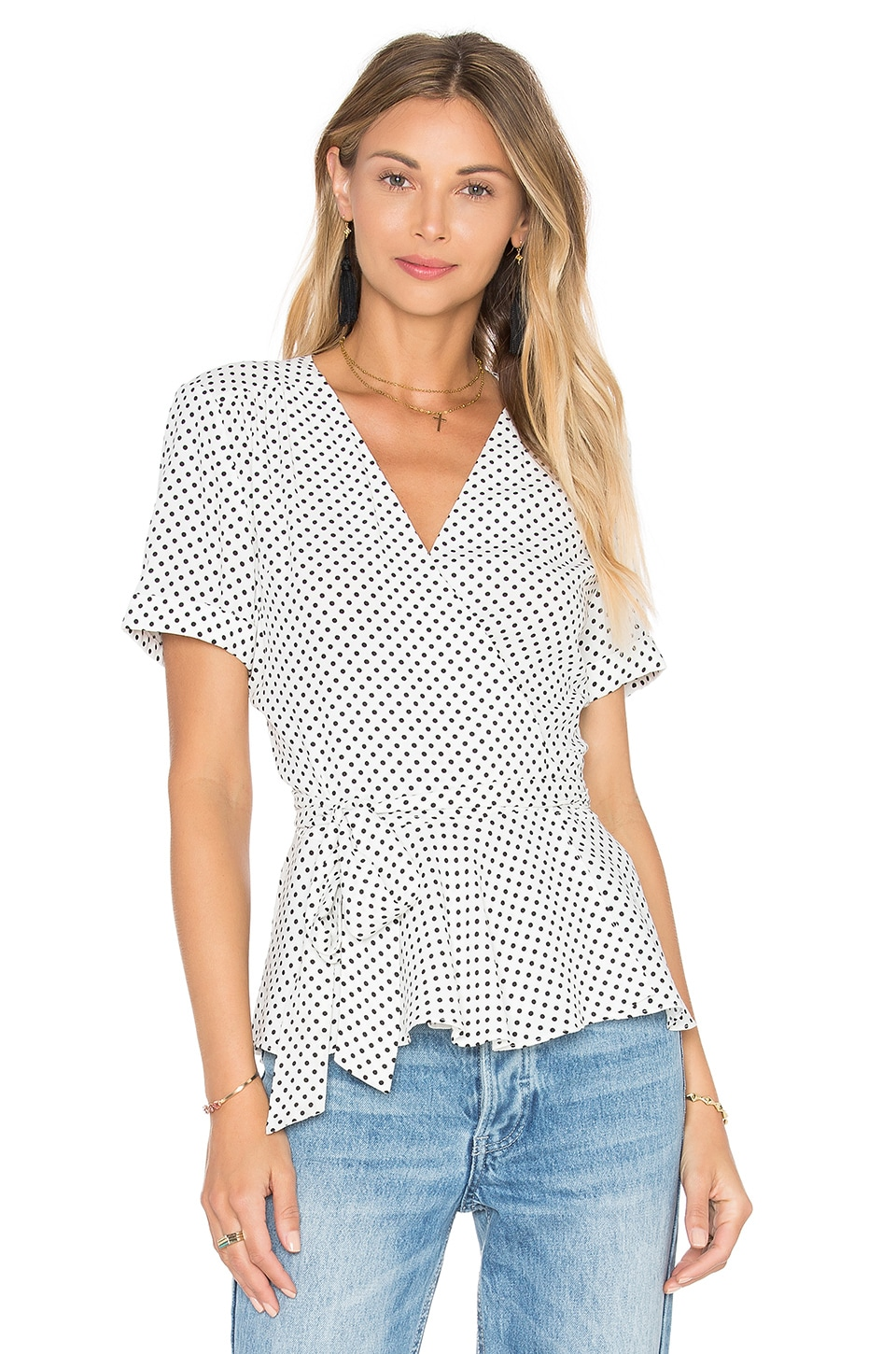 L'Academie The Retro Wrap Blouse in Dot