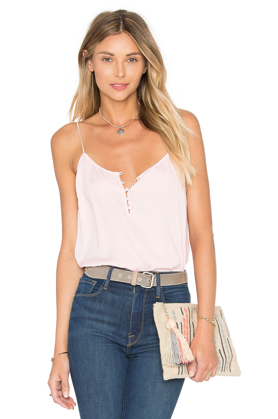 L'Academie The Button Cami Blouse in Blush