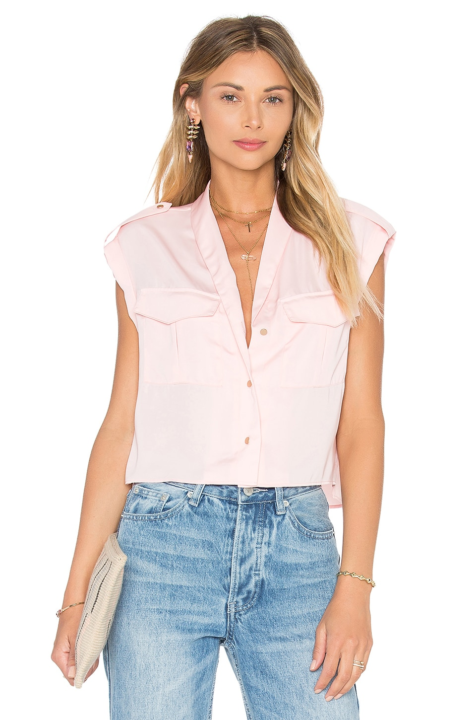 L'Academie The Safari Crop Top Blouse in Blush