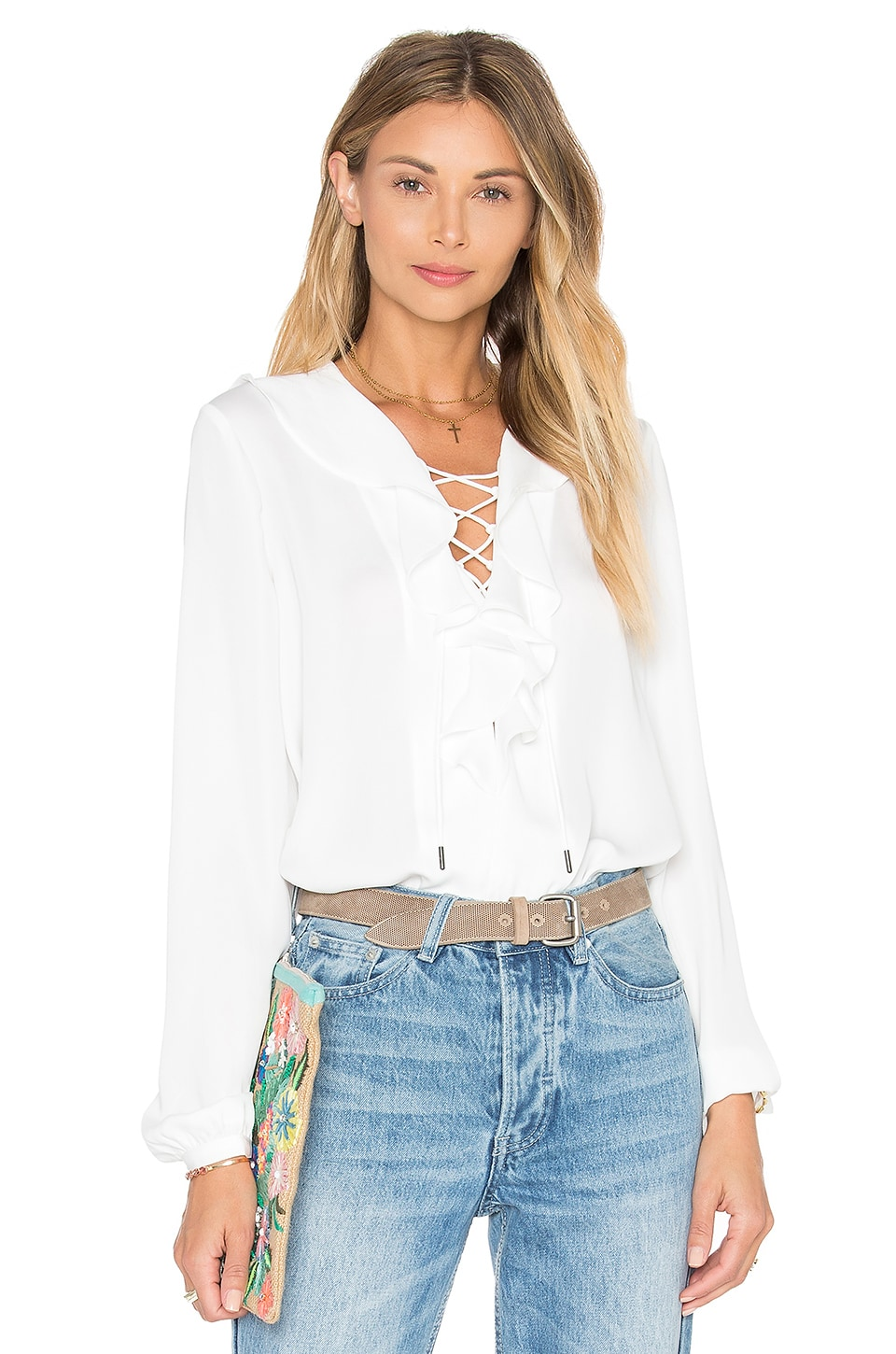 L'Academie The Ruffle Boho Blouse in Ivory