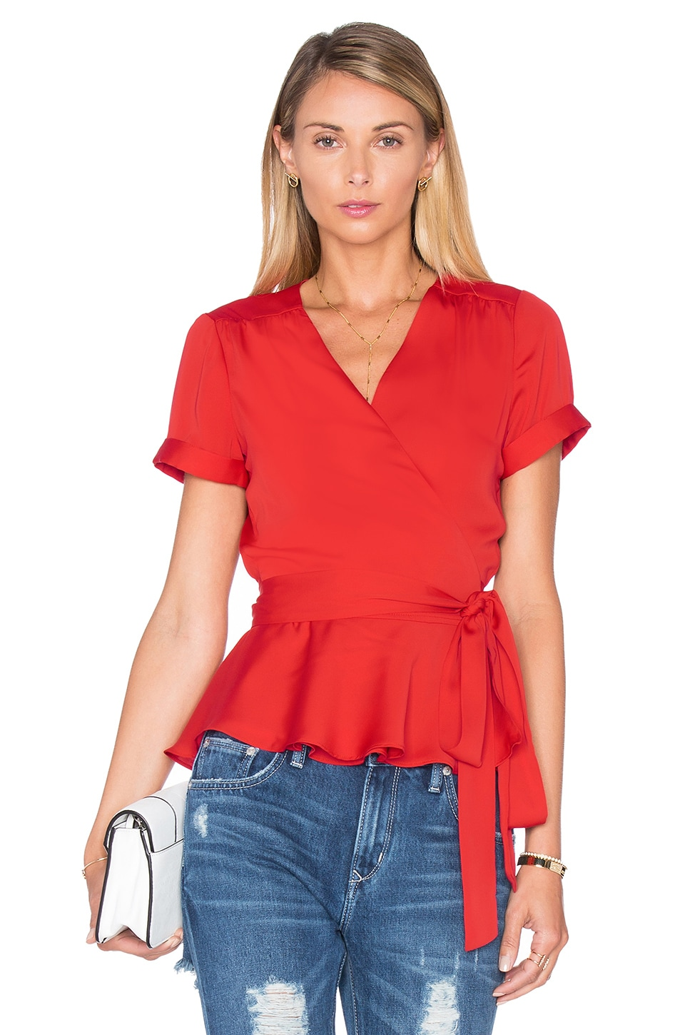 L'Academie The Retro Wrap Blouse in Red Clay