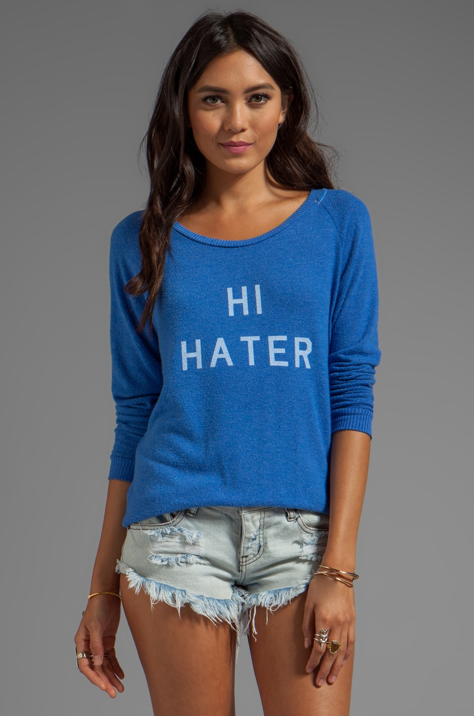 Local Celebrity Hi Hater Bye Hater Sweater in Royal Stone