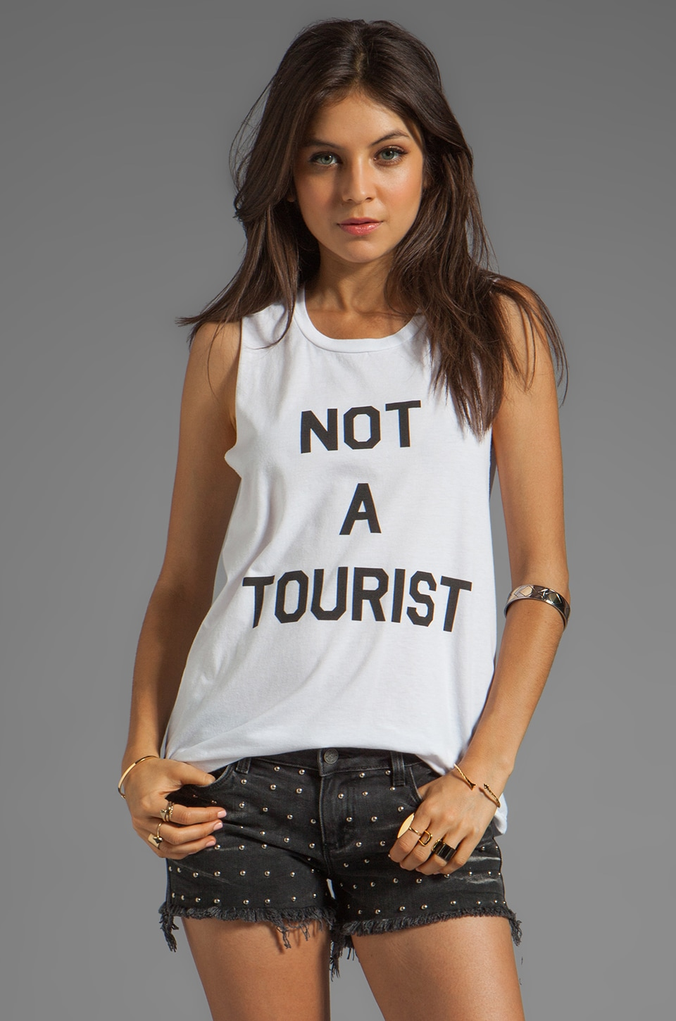 Local Celebrity Not A Tourist Muscle Tee in White