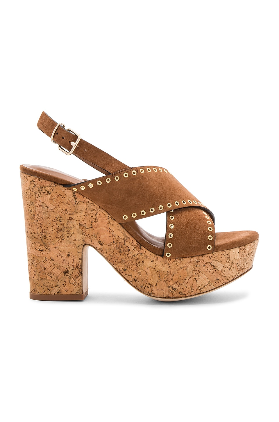 Lola Cruz Cross Front Platform in Tan