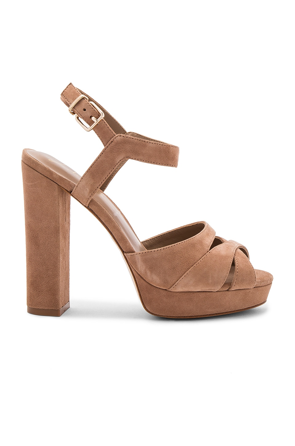 Lola Cruz Peeptoe Heel in Light Brown
