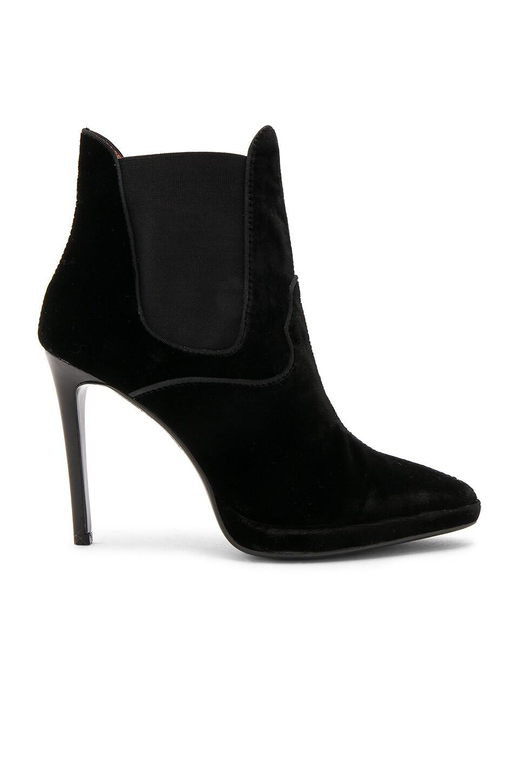 Lola Cruz Velvet Bootie in Black