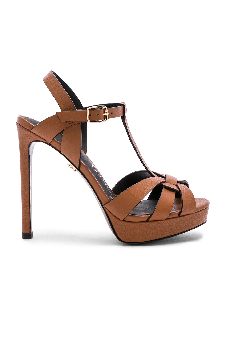 Lola Cruz Ankle Strap Heel in Tan
