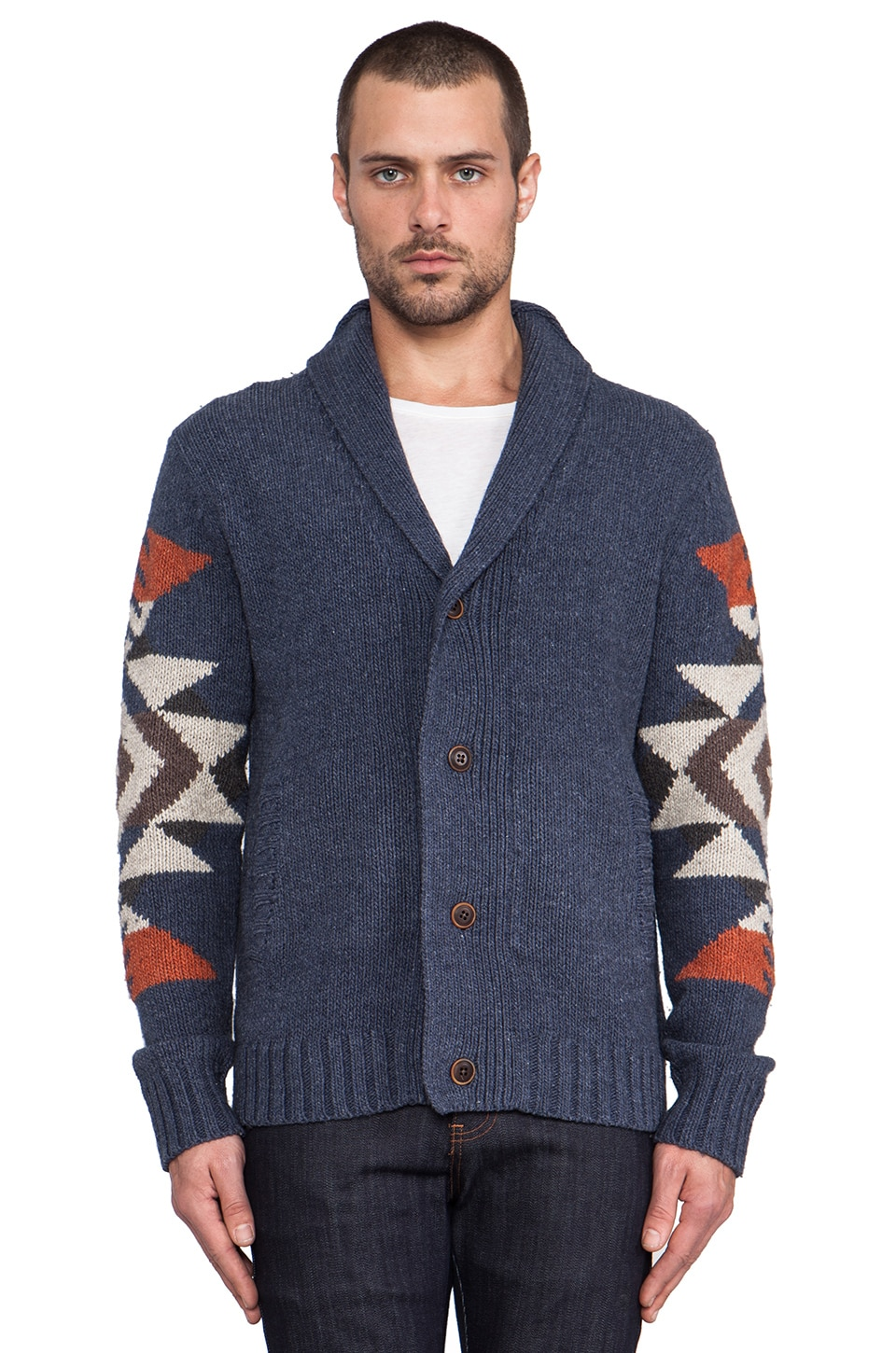 life/after/denim Iroquois Cardigan in Heather Navy