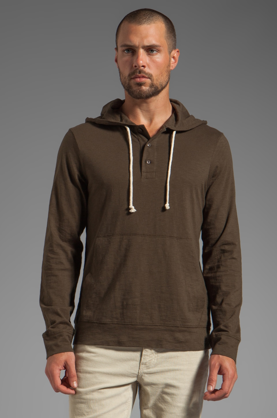 life/after/denim Waterfront Hooded Henley in Kelp