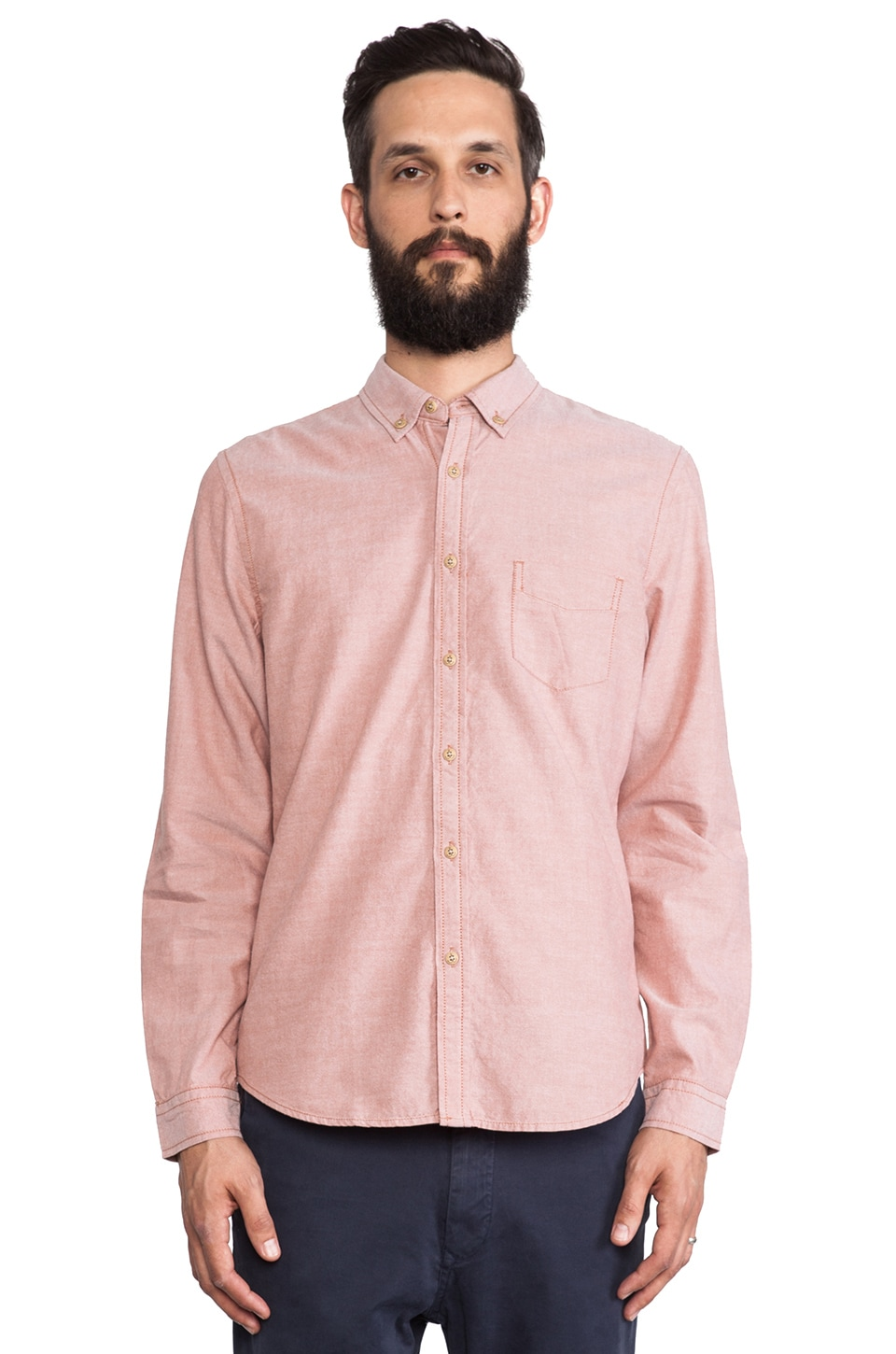 life/after/denim Ichibon Oxford Button Down in Salmon