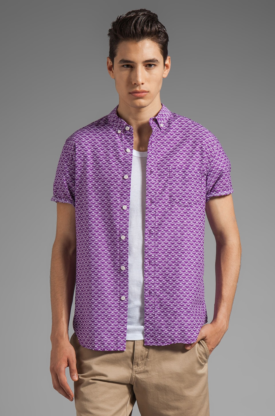 life/after/denim Short Sleeve Sliverlake Printed Shirt in Wild Orchid