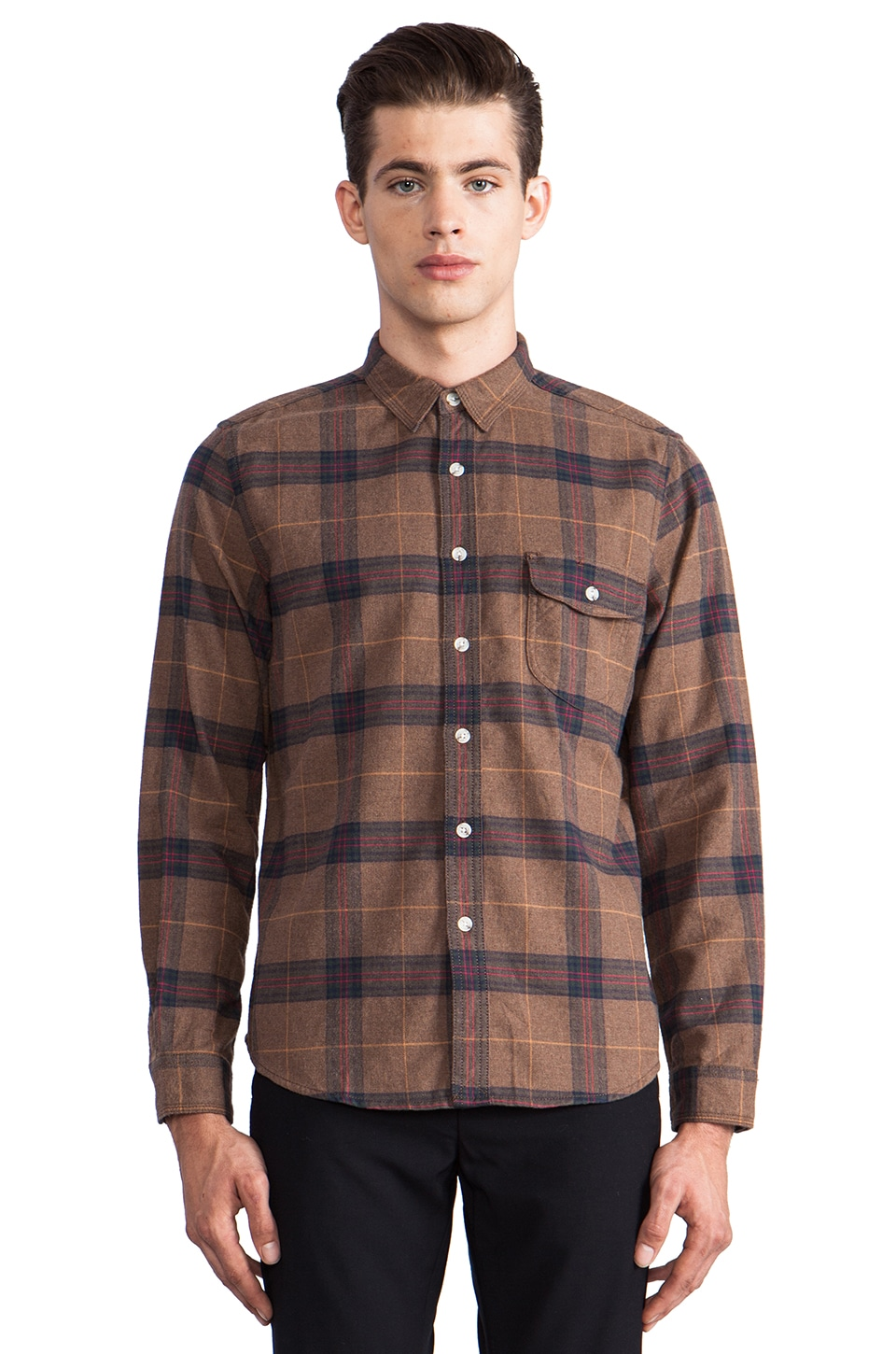 life/after/denim Trade Post Flannel Button Down in Heather Charlie Brown