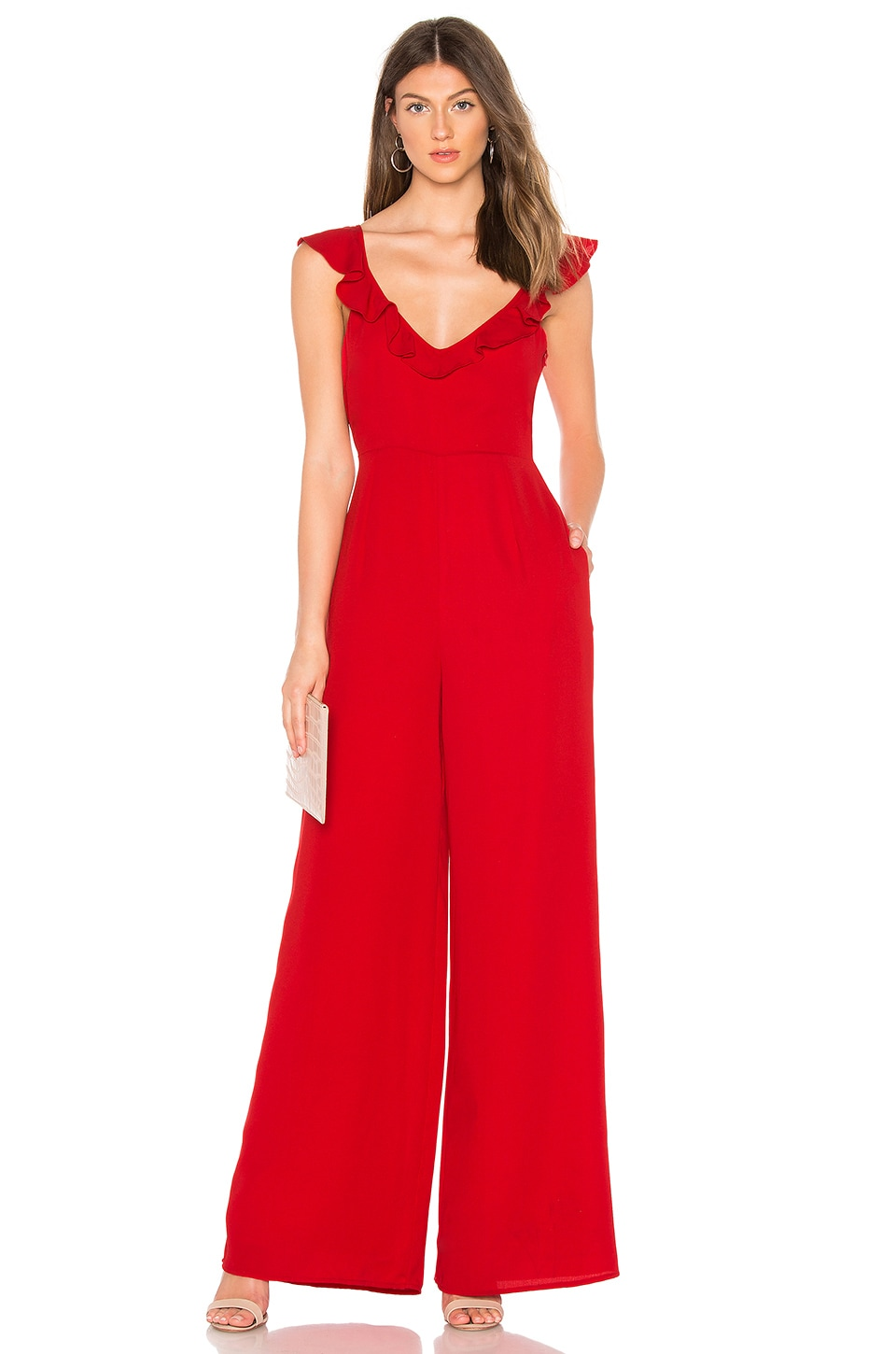 Line & Dot Poinsettia Ruffle Front Jumpsuit in Red