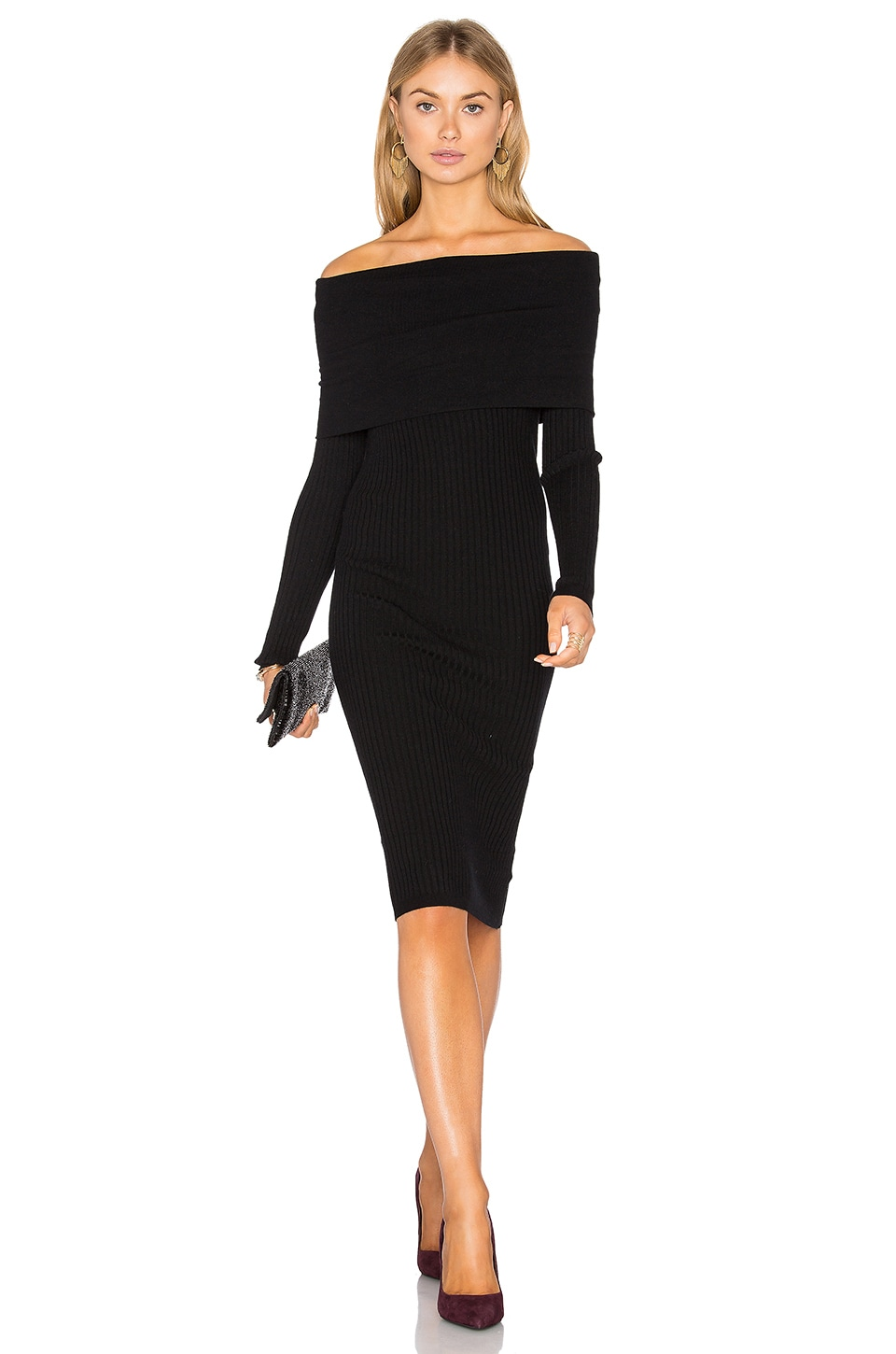 Line & Dot Lea Off Shoulder Dress in Black