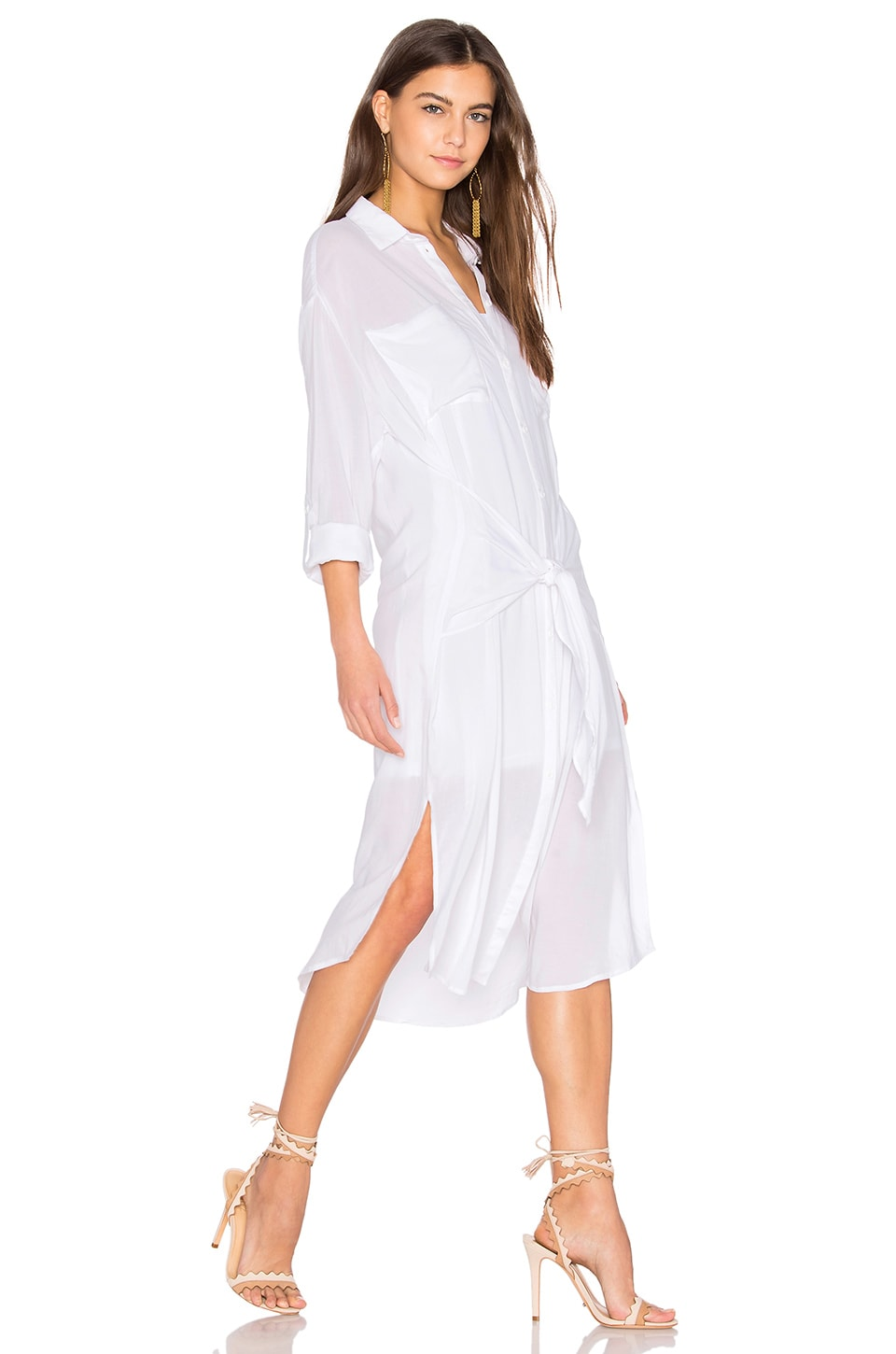 Line & Dot Andria Tied Shirt Dress in White