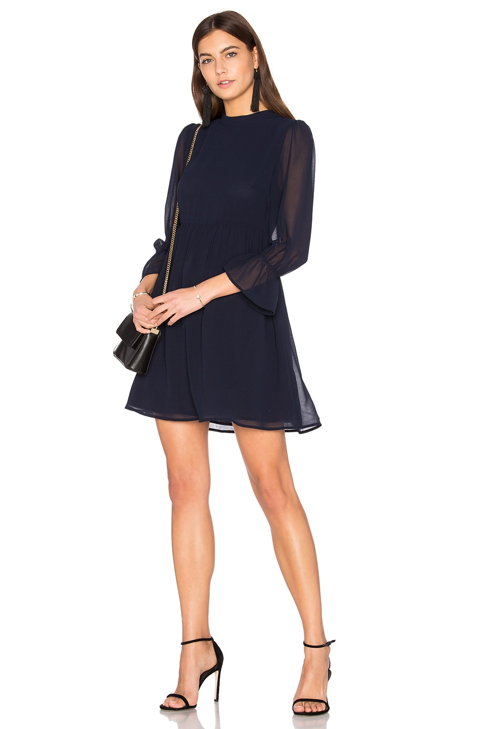 Line & Dot Renee Babydoll Dress in Navy