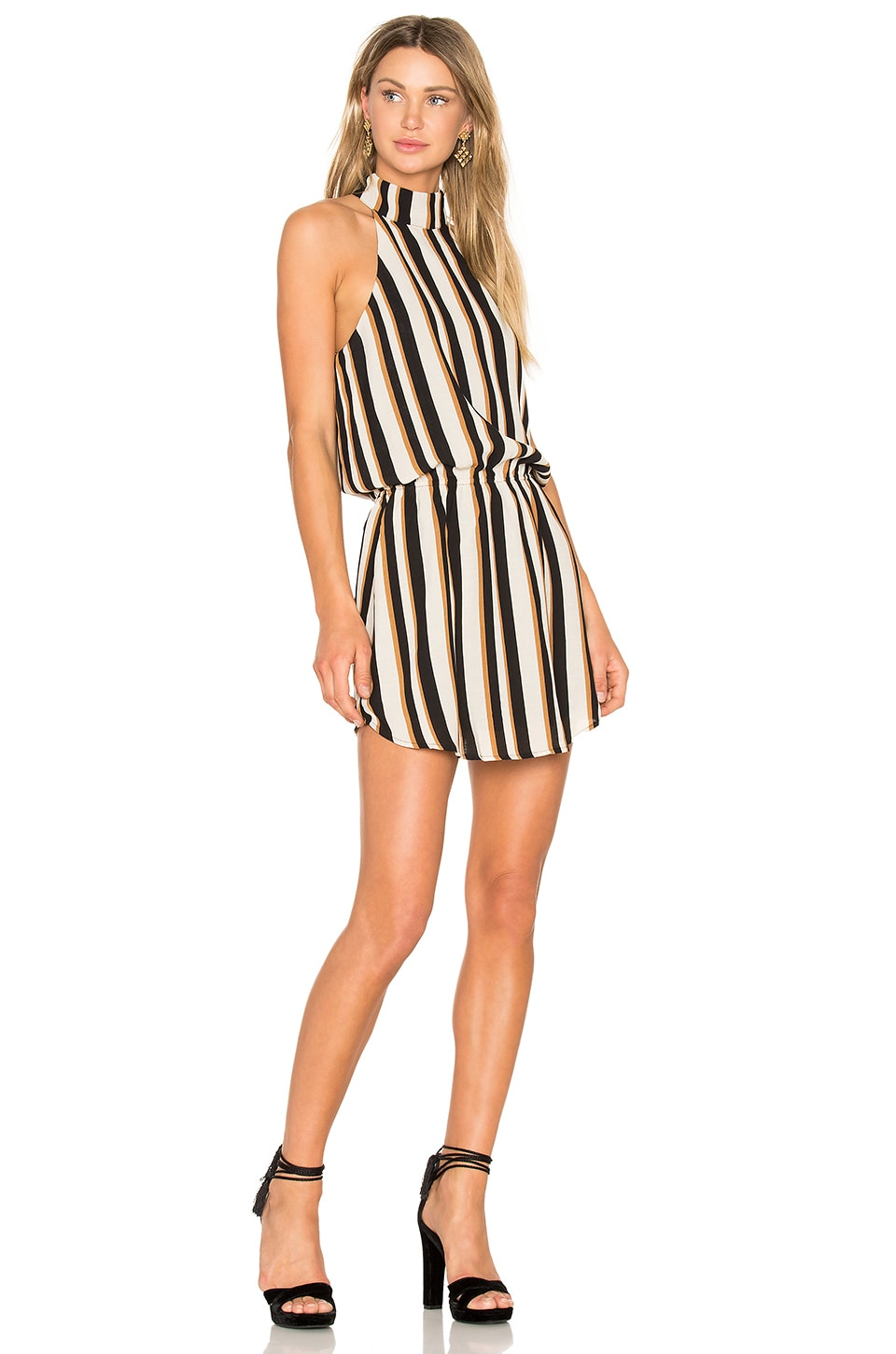 Line & Dot Oak Halter Dress in Stripe