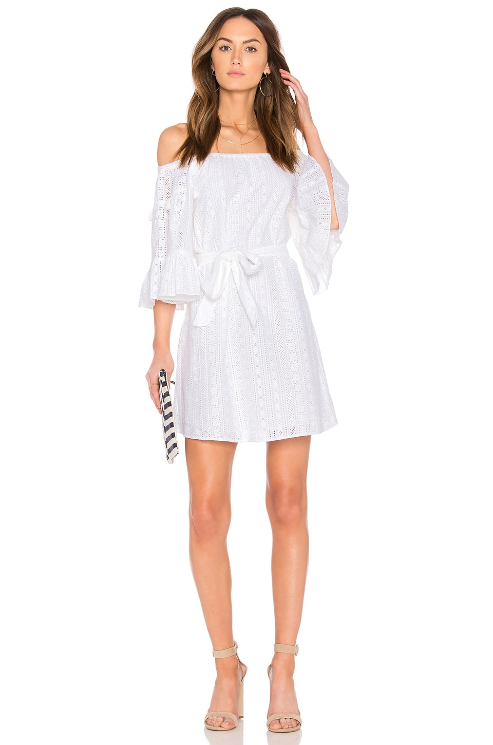 Line & Dot Celia Peasant Dress in White