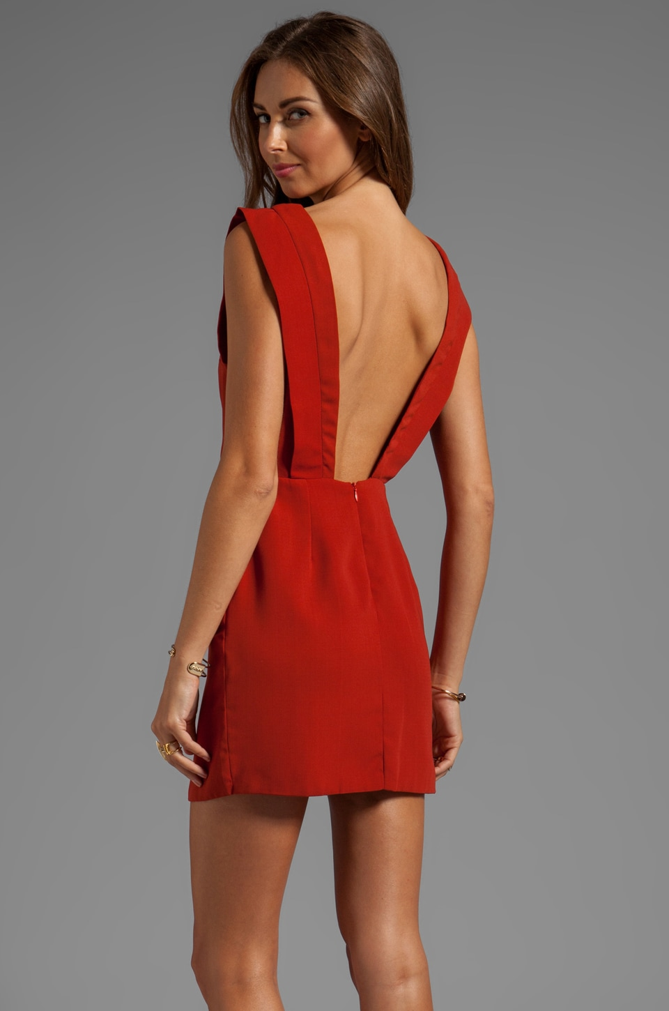 Line & Dot Deep V-Back Dress in Moscow Red