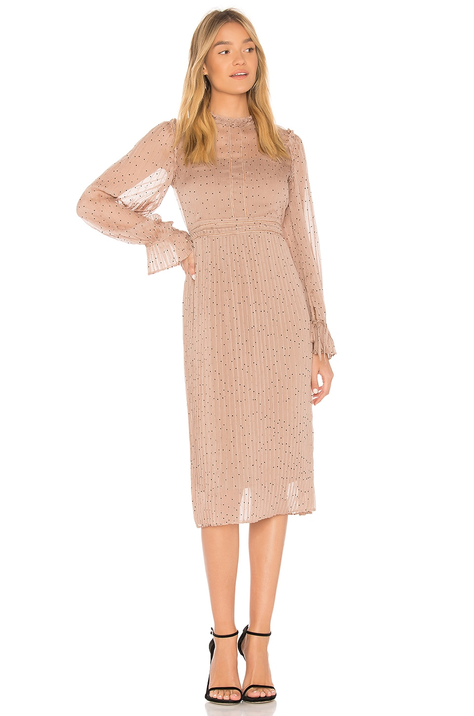 Line & Dot Allegra Dress in Buff