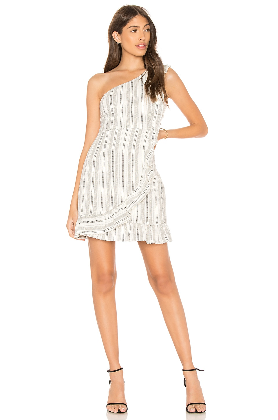 Line & Dot Edna One Shoulder Dress in White & Black