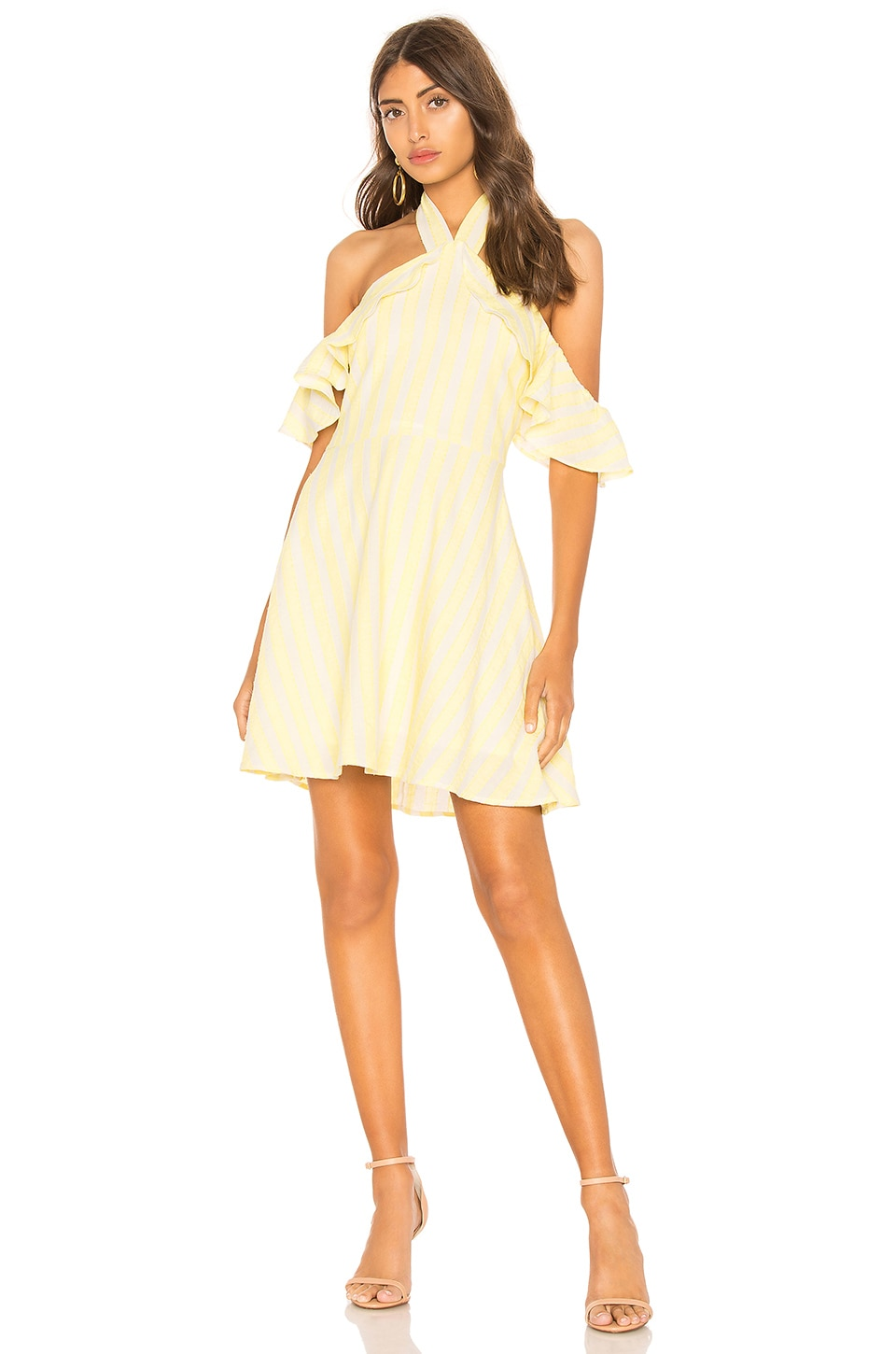 Line & Dot Ali Dress in White & Yellow