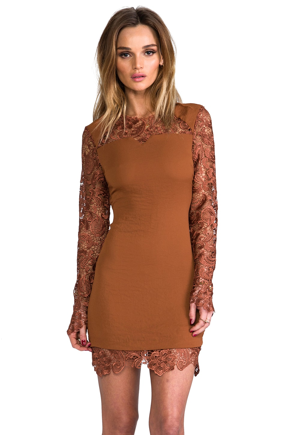 Line & Dot Lace Long Sleeve Dress in Ochre