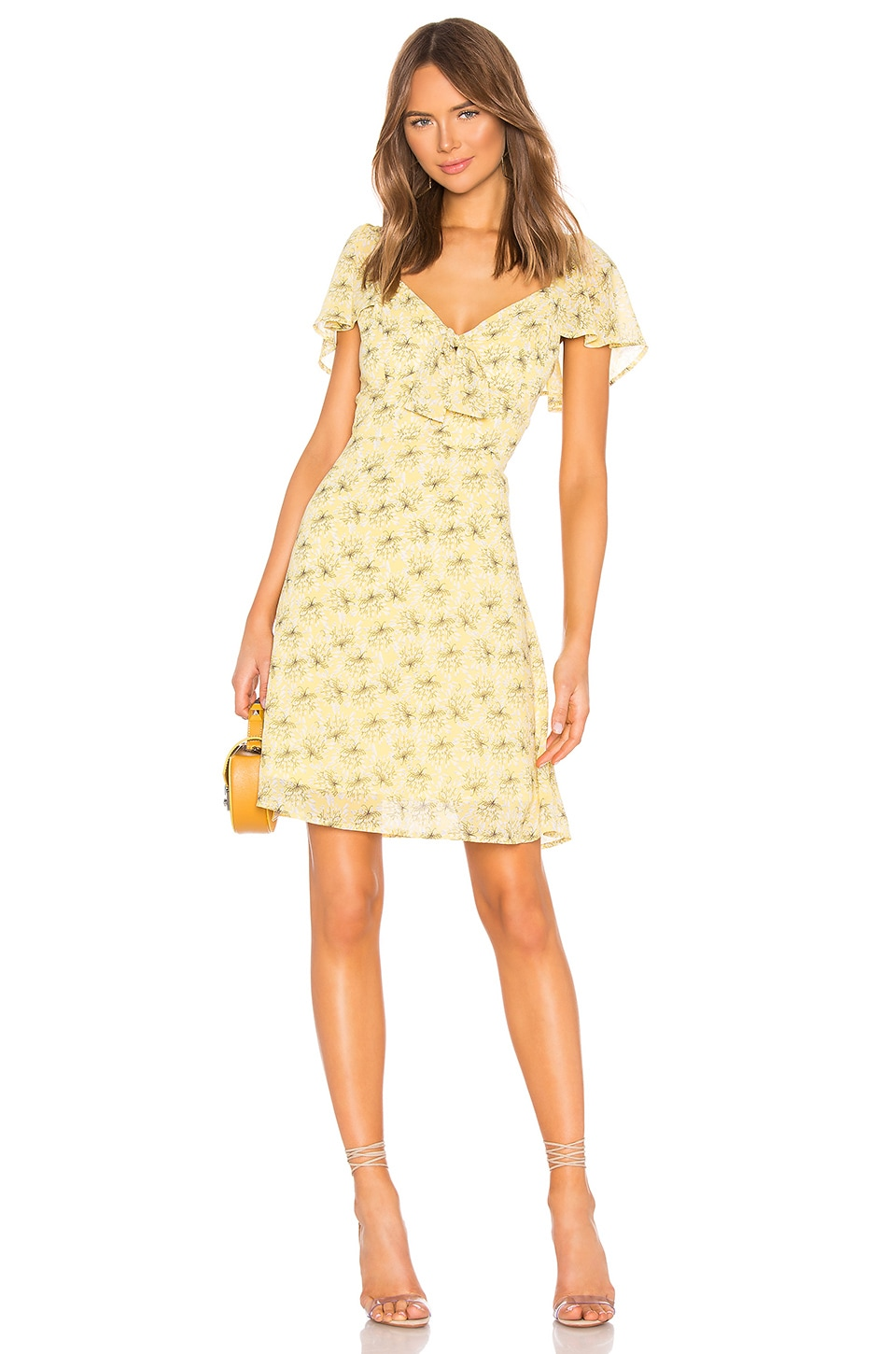 Line & Dot Jamie Mini Dress in Custard Yellow