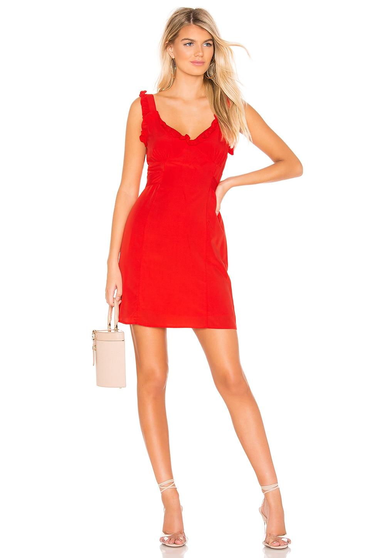 Line & Dot Karla Dress in Tangerine Red