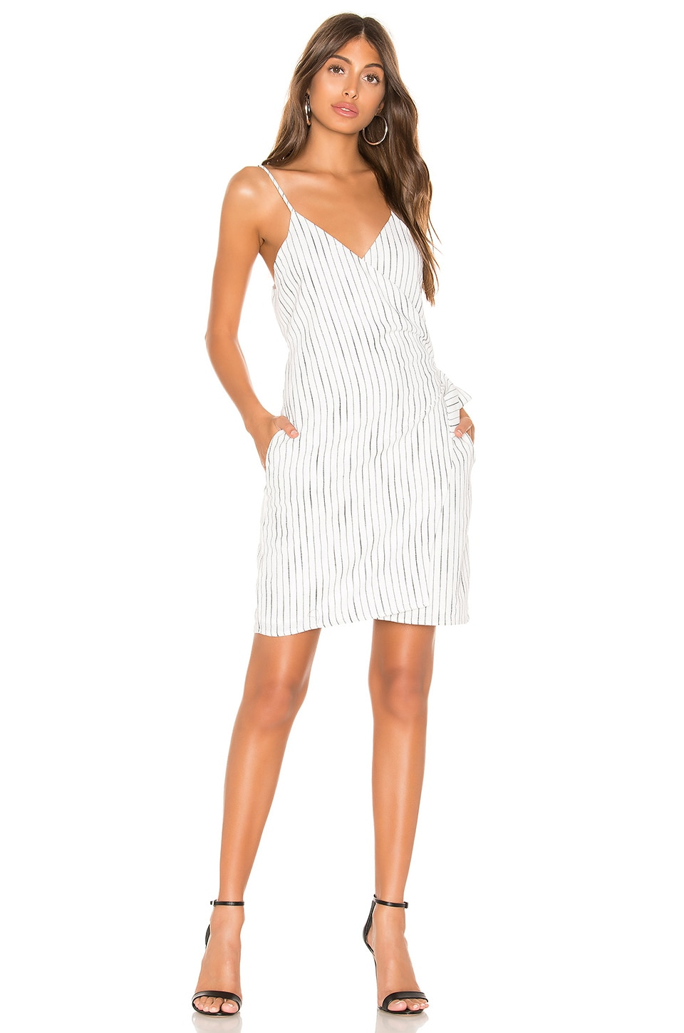 Line & Dot Lily Tied Dress in White & Black